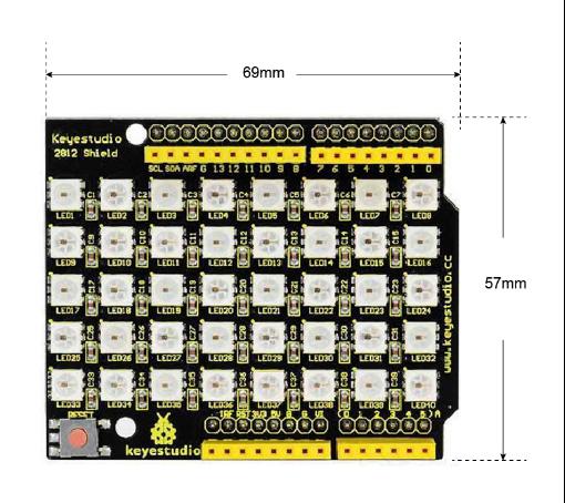 Ks0163 keyestudio 40 RGB LED 2812 Pixel Matrix Shield