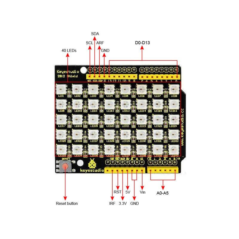 Ks0163 keyestudio 40 RGB LED 2812 Pixel Matrix Shield